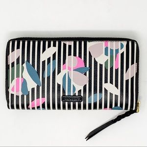 Fossil Striped Floral Leather Wallet